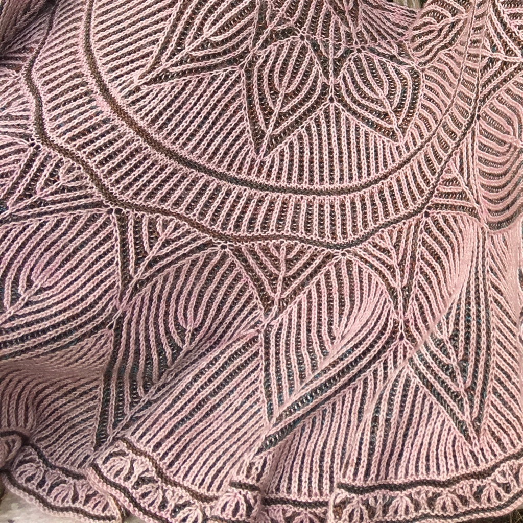 A close up picture of Meg March Shawl.