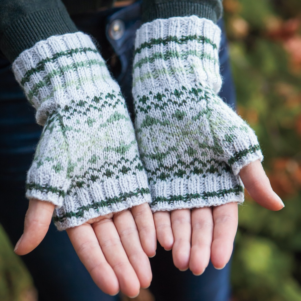 A picture of Little Orme mitts being worn by a model. Photo copyright to Knit Picks.