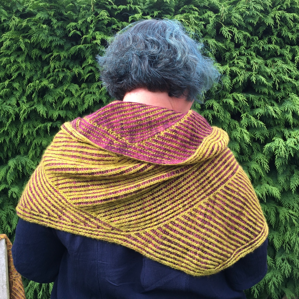 A picture of Marmee March Hooded Shawl being worn, shown from the back.