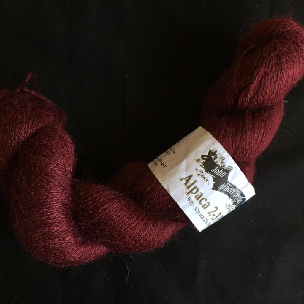 1 skein of John Arbon Textiles Alpaca 2-3ply in Merlot