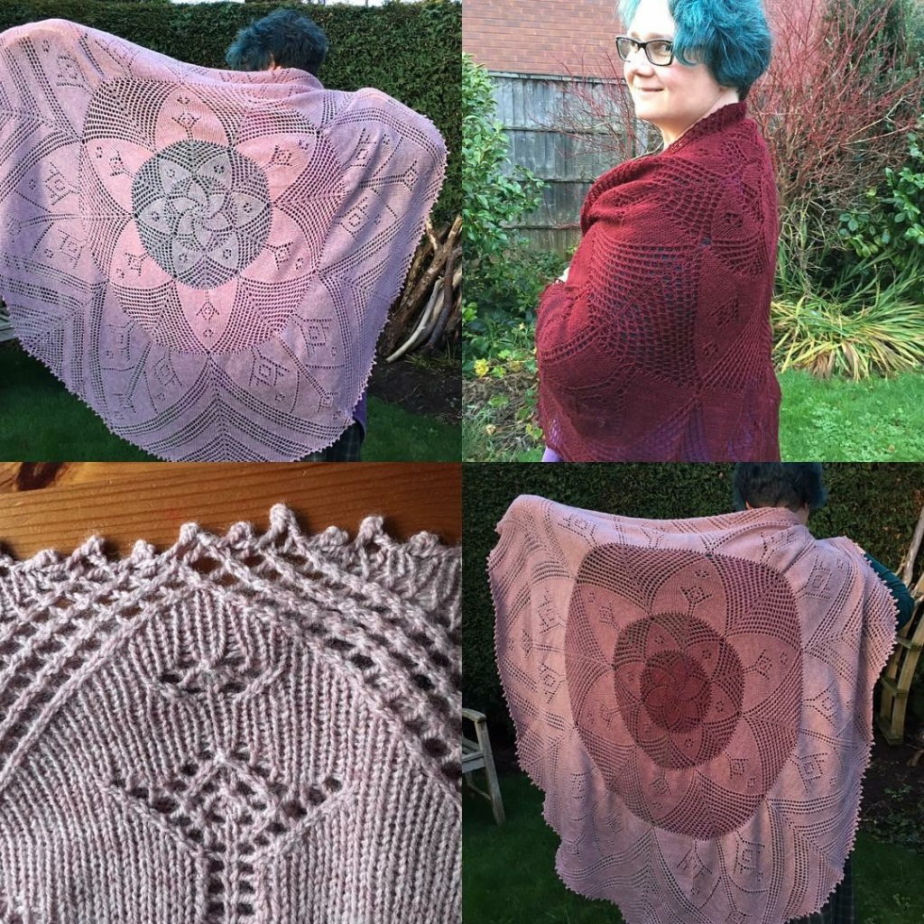 A multiple picture of Main Marion Shawl, showing Three and Four colour versions in full, a small close up edge section and the single colour version being worn.