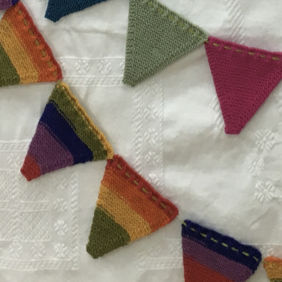 A close up picture of Beginner's Bunting Triangles.
