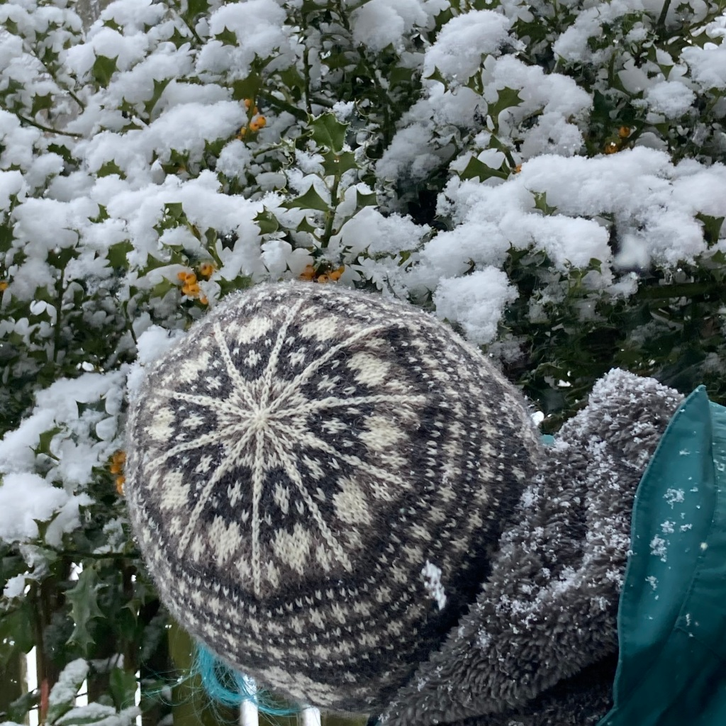 Woman standing in front of a snowy holly bush facing away from the camera so the crown of her hat can be seen