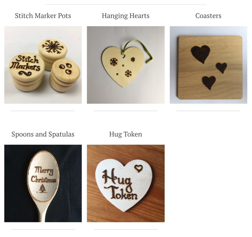 A screenshot of the Wooden Treats page of my website, showing the five different categories of items for sale.