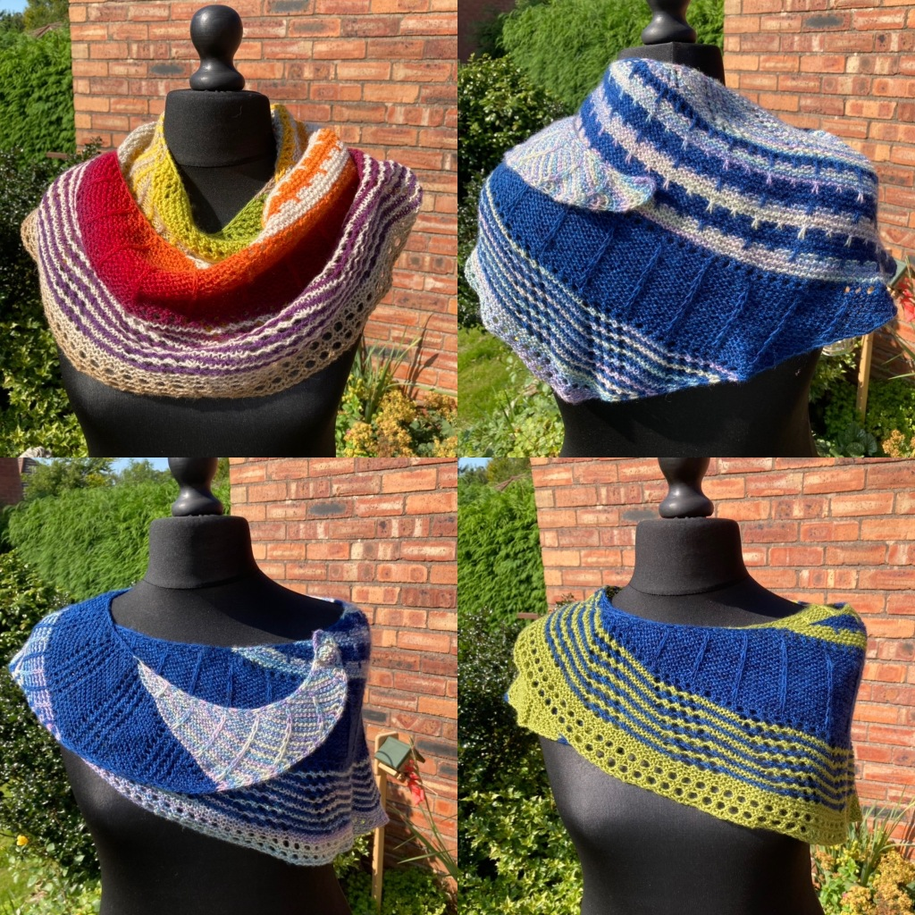 Four images of Into the Vortex shawl posed on Desdemona the mannequin show some of the wearing possibilities. One uses a shawl pin (bottom left), another has the small pointed end draped over the left shoulder (top right), a third has the point of the wide end draped over the right shoulder (bottom right)and the fourth is worn more like a scarf with the shawl bunched up more on the shoulders (top left). Images taken on a sunny day on the patio by the brick garage wall.